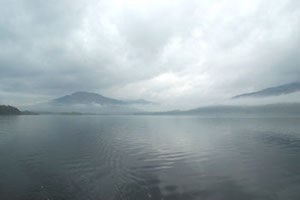 mist and low cloud on mountains around loch tay